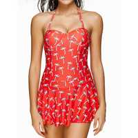 Plus Size Hang Neck Half Cup Swim Skirt