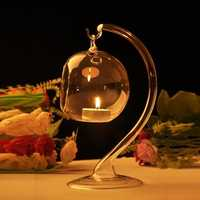 Hanging Crystal Glass Candle Table Light Lamp Planting Holder Candle Stick Romantic Dinner Wedding