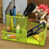Metal Mesh Pen Holder Pencils Storage Organizer Box Desk Stationery Home Office