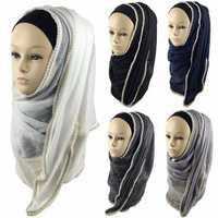 Women Ladies Pearl Floral Bead Hijab Scarf Shawl Muslim Islamic Kerchief Headpiece