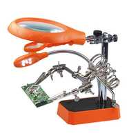 5 LED Light Magnifier Magnifying Glass Helping Hand Soldering Stand with 3 Lens - Orange