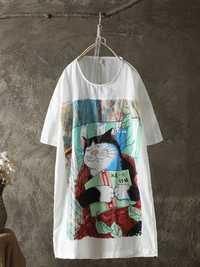 Women Casual Cat Print Short Sleeve Loose T-shirts