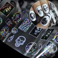Dancingnail Halloween Skull Head Nail Sticker Punk Style Zombie Design Decoration