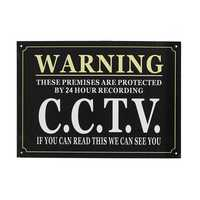 A3 Security Warning Sign Protected By 24 Hour CCTV Security Camera Sign Metal Waterproof Black