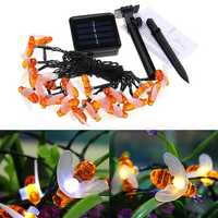Solar Powered 5M 20LEDs Waterproof Honey Bee Fairy String Light for Garden Yard Christmas