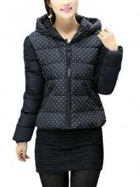 Women Short Coat Down Cotton Padded Dot Jacket Coat
