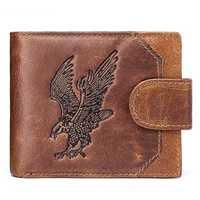 Genuine Leather Vintage Animal Print Wallet Coin Bag For Men