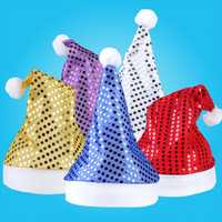New Christmas Party Cap Adult Children Santa Costume Soft Sequins Gift Decor Hat