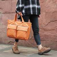 Brenice Solid Briefcases Waterproof Canvas Laptop Bags