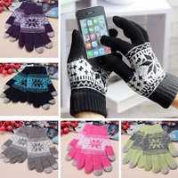 Unisex Men Women Knitted Snowflake Smartphone Touch Screen Gloves Full Finger Mittens