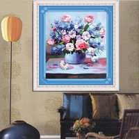 42x45cm 3D Silk Ribbon Purple Flower Cross Stitch Kit Embroidery DIY Handwork Home Decoration