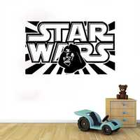 W-1 Star Wars Alphabet Wall Stickers Removable - BLACK