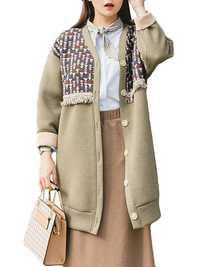 Plus Size Casual Women Geometric Printing Tassel Coat