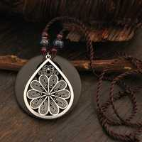 Ethnic Flower Pendant Necklaces