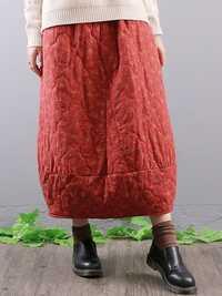Vintage Floral Print Elastic Waist Pockets Baggy Long Skirts