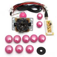Dual Players Pink Game DIY Arcade Game Console Set Kits Replacement Parts USB Encoders to PC Double Joysticks and Buttons