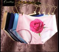 Women Sexy Seamless Anti 3D Rose Printings Silk Briefs Panties Underwear