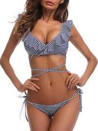 Women Sexy Padding Stripe Bikini Set