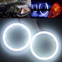 Pair 70mm 10W 12V 60SMD COB White Outside Angel Eye Ring Headlight Aperture