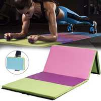 118×47×2inch 4 Folding Gymnastics Mat Yoga Exercise Gym Airtrack Panel Tumbling Climbing Pilates Pad