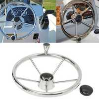 13.5'' Boat Marine Yacht Stainless Steel Steering Wheel 5 Spoke With Knob