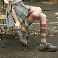 Women Girl Patchwork Harajuku Style Warm Long Tube Socks