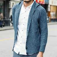 Mens Casual Warm Hooded knitted Cardigans