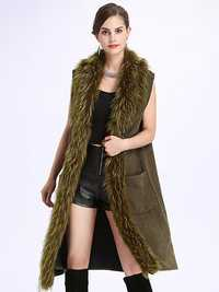 Women Faux Fur Collar Sleeveless Coat