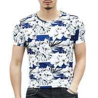 Summer Mens Fashion Flower Printed O-neck T-shirt