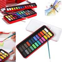 12/18/24 Colors Artist Grade Solid Water Color Paint Tin Box Watercolor Pigment Drawing Toys