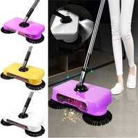 LED Light Automatic Hand Push Sweeper Spin Broom Household Floor No Electric Home Cleaning Tools