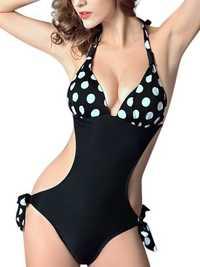 Sexy Halter Plunge Polka Dot Zebra Swimwear Backless Wireless One Piece