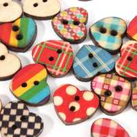 100pcs 2 Holes Heart Shape Multicolor Wooden Sewing Buttons Scrapbooking DIY Craft Clothes Decor