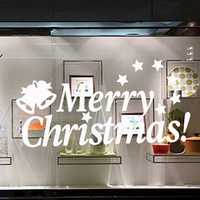 Merry Christmas Happy New Year Cute Caving Waterproof Removable PVC Glass Wall Window Decor Sticker for Home Festival Party Decorations