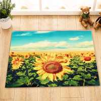 Gold Sunflower Area Floor Rug Carpet For Bedroom Living Room Home Decoration
