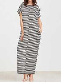 Elegant Women Maxi Dress Classic Cross Stripe Casual Sexy Dresses