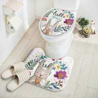 Carpet Absorbent Non-Slip Pedestal Rug Lid Bathroom Toilet Cover Bath Mat New Cut Cartoon Rabbit Animal Pattern