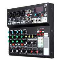 Mini 8 Channel bluetooth Audio Mixer Portable USB 48V Phantom Mixing Console Karaoke