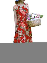 Ethnic Style Sleeveless Floral Print Loose Maxi Dress