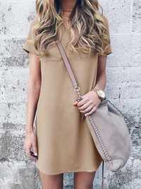 Casual Women Short Sleeve V-Neck Mid Long Pocket Dress