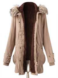 Plus Size Casual Women Fur Collar Hooded Thick Coats