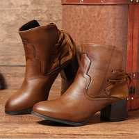 Large Size Vintage Lace Up Knight Ankle Boots