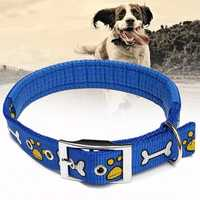 Adjustable Nylon Foam Padded Pet Dog Puppy Collar Neck Strap Leash With Buckle