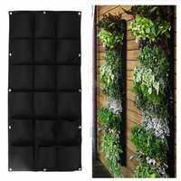 18 Pockets Wall Haning Felt Planter Bags Indoor Outdoor Plant Growing Bag