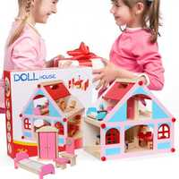 Wooden Delicate Dollhouse With All Furniture Miniature Toys For Kids Children Pretend Play