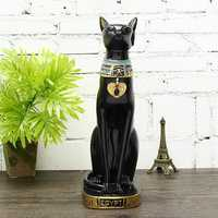 15'' Vintage Egyptian Bastet Cat Goddess Resin Figurine Black Cat Pharaoh Statue Decorations