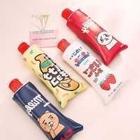 New Korean Cartoon Toothpaste Shape Pencil Case With Sharpener Stationery Storage Organizer Bag