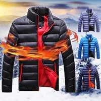 Men Winter Windproof Stand Collar Zipper Cozy Warm Cotton Jacket Casual Coat
