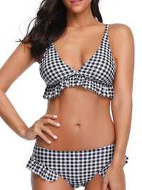 High Waist Split Plaid Bikini For Women