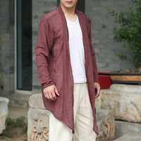 Mens Long Linen Cotton Baggy Cardigans